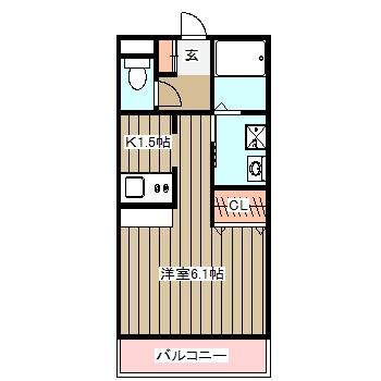 立川富士見町マンション・103号室の間取り