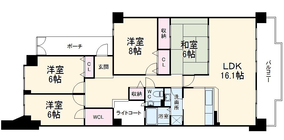 サンシティ桂坂ロイヤル弐番館 417号室の間取り