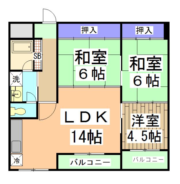 中川第6コーポ 203号室の間取り