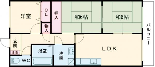 グランディール岸和田 305号室の間取り