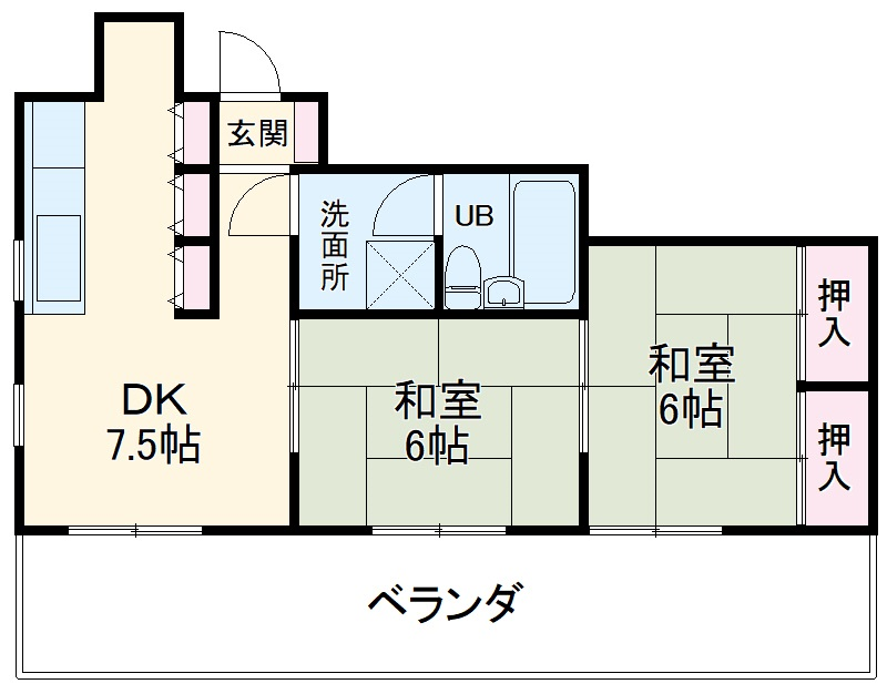 ランコントル堺町・302号室の間取り