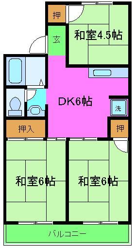 セジュール加守田 102号室の間取り