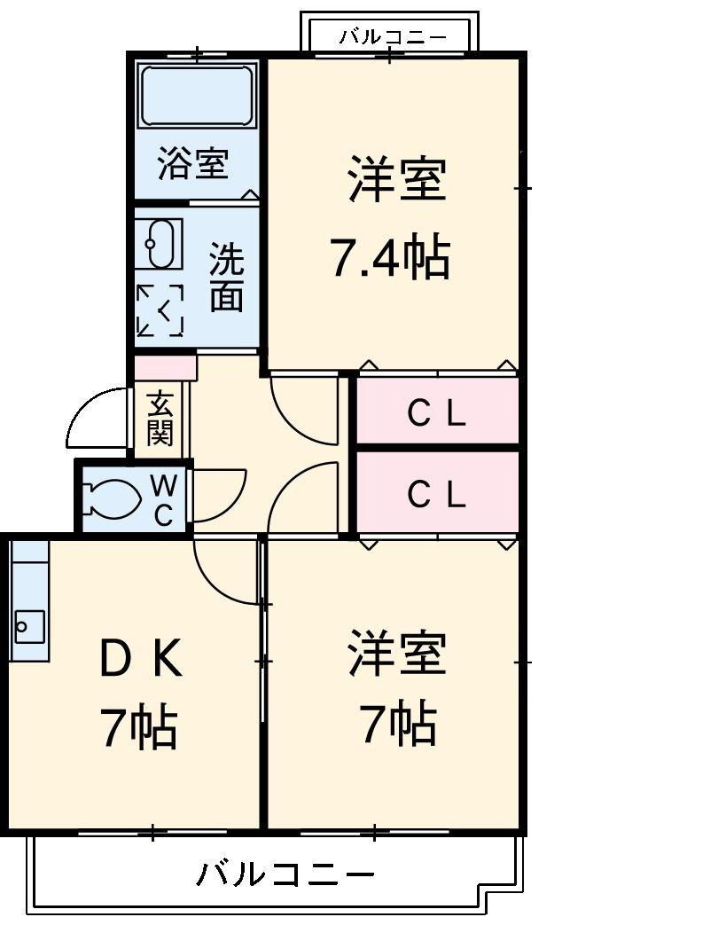 レ・セゾンKAWADA Ⅰ・203号室の間取り