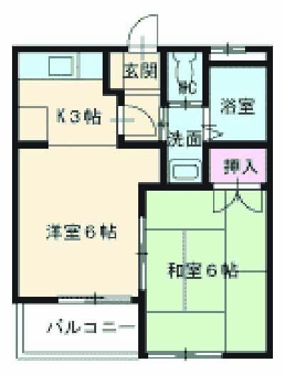 東マンションⅡ・2-A号室の間取り