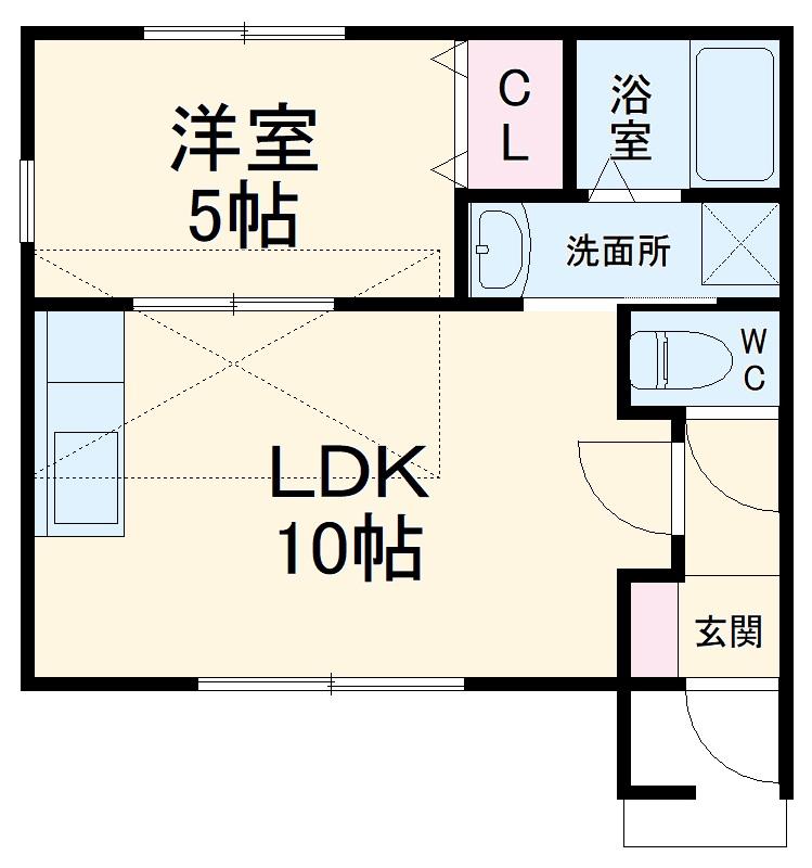 Luce Ueno・101号室の間取り