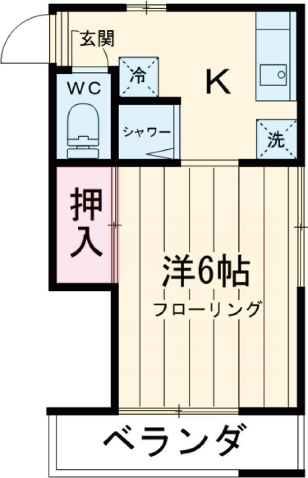 石川荘 1D号室の間取り
