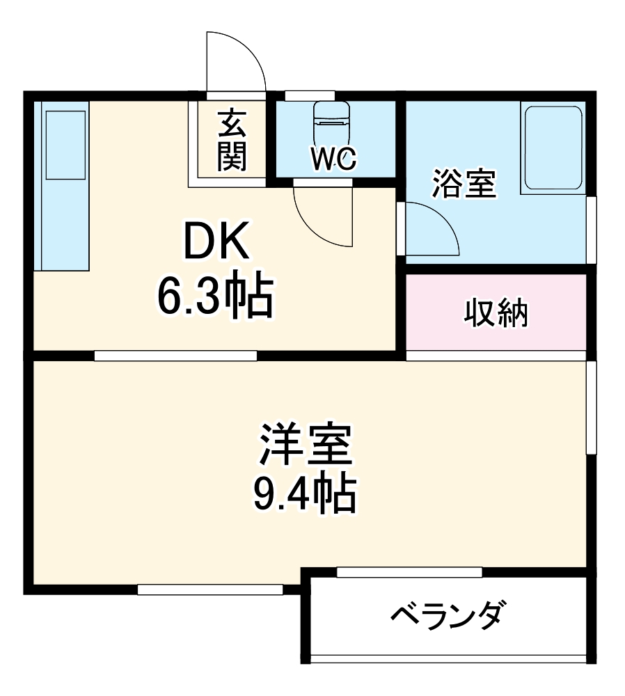 アビリア徳川・303号室の間取り