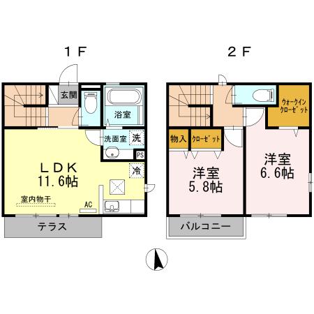 柚子季Ⅲ・C102号室の間取り