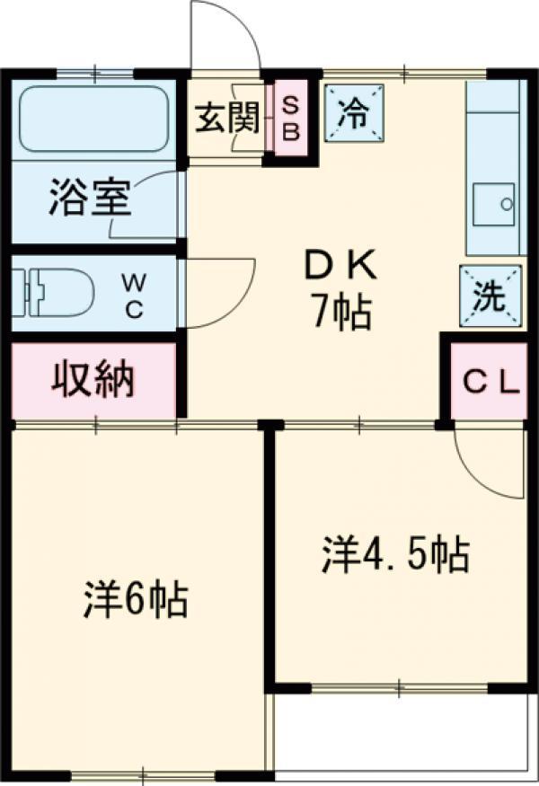石川コーポ 203号室の間取り