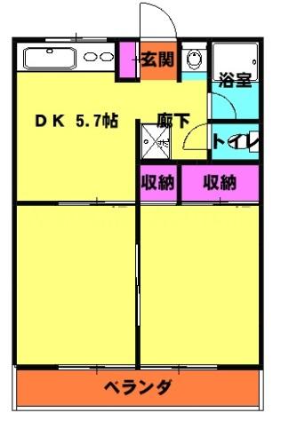 マコトハイツ・102号室の間取り