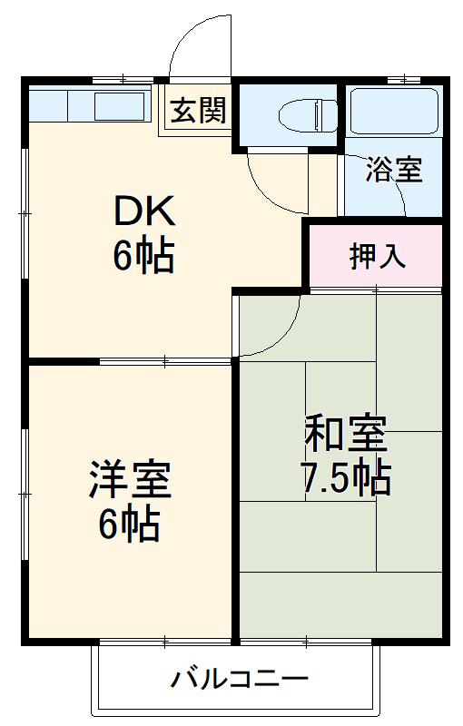 田村ハイツA・205号室の間取り