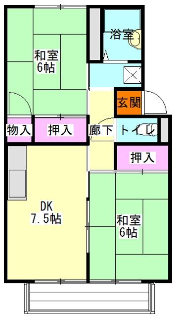 メゾン竜蔵寺 201号室の間取り
