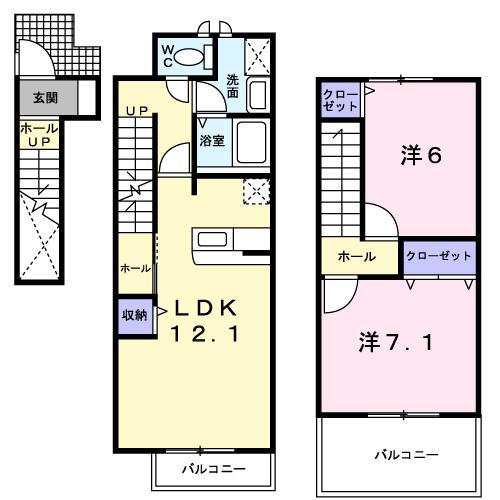 リッシュ・ファミーユ・02050号室の間取り