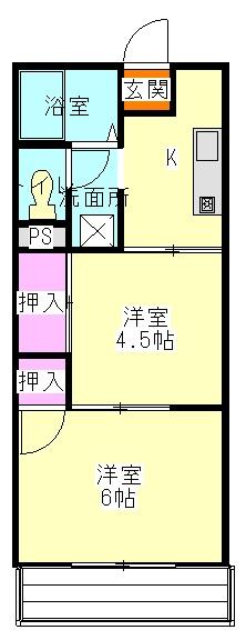 メゾン静二号棟B 206号室の間取り