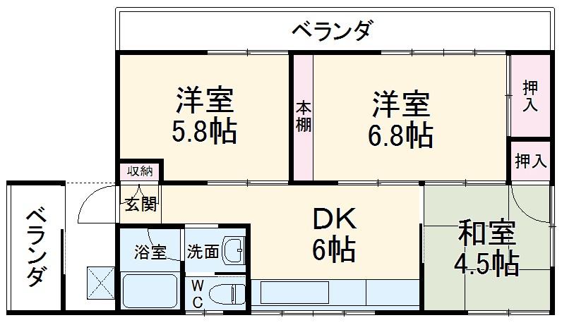 梶川邸貸家・1号室の間取り