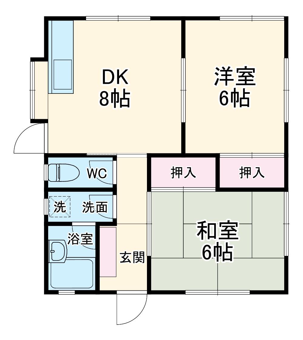 根岸アパート・1F号室の間取り