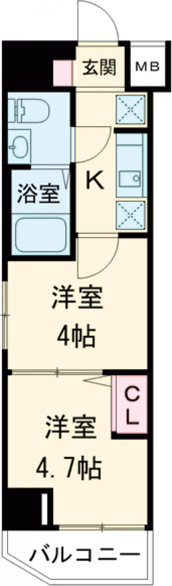 アンベリール マーロ北綾瀬Ⅱ・201号室の間取り