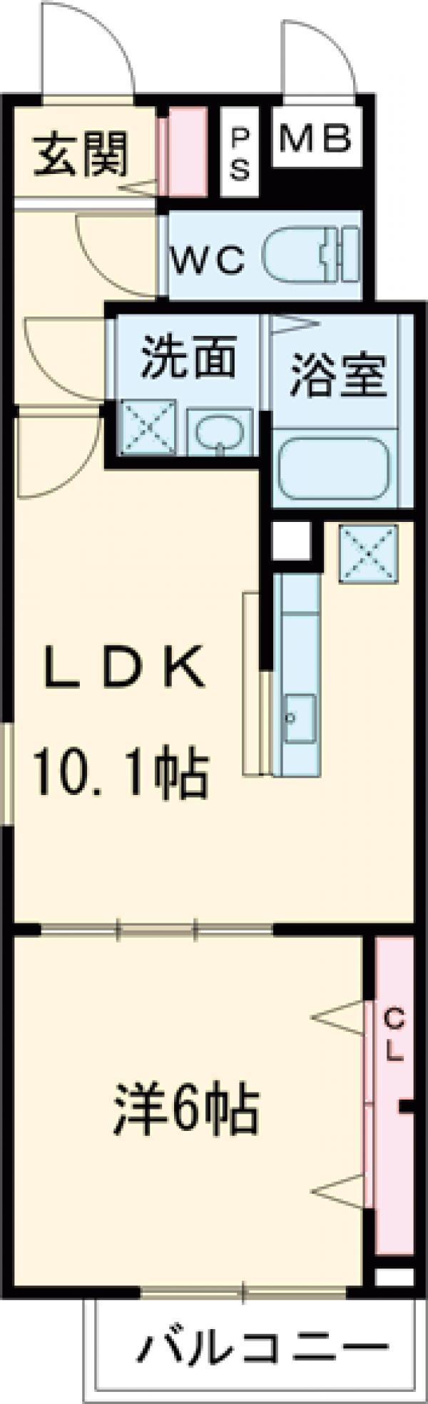 ラ・プルメリア・01020号室の間取り