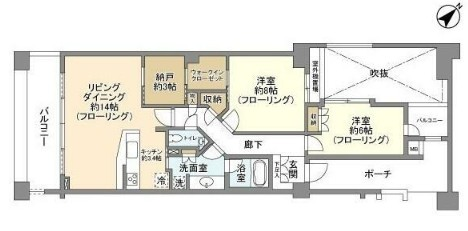 上野毛ファーストプレイス・201号室の間取り