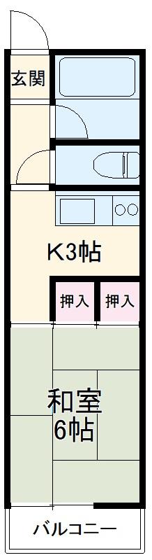 馳川アパート 3号室の間取り