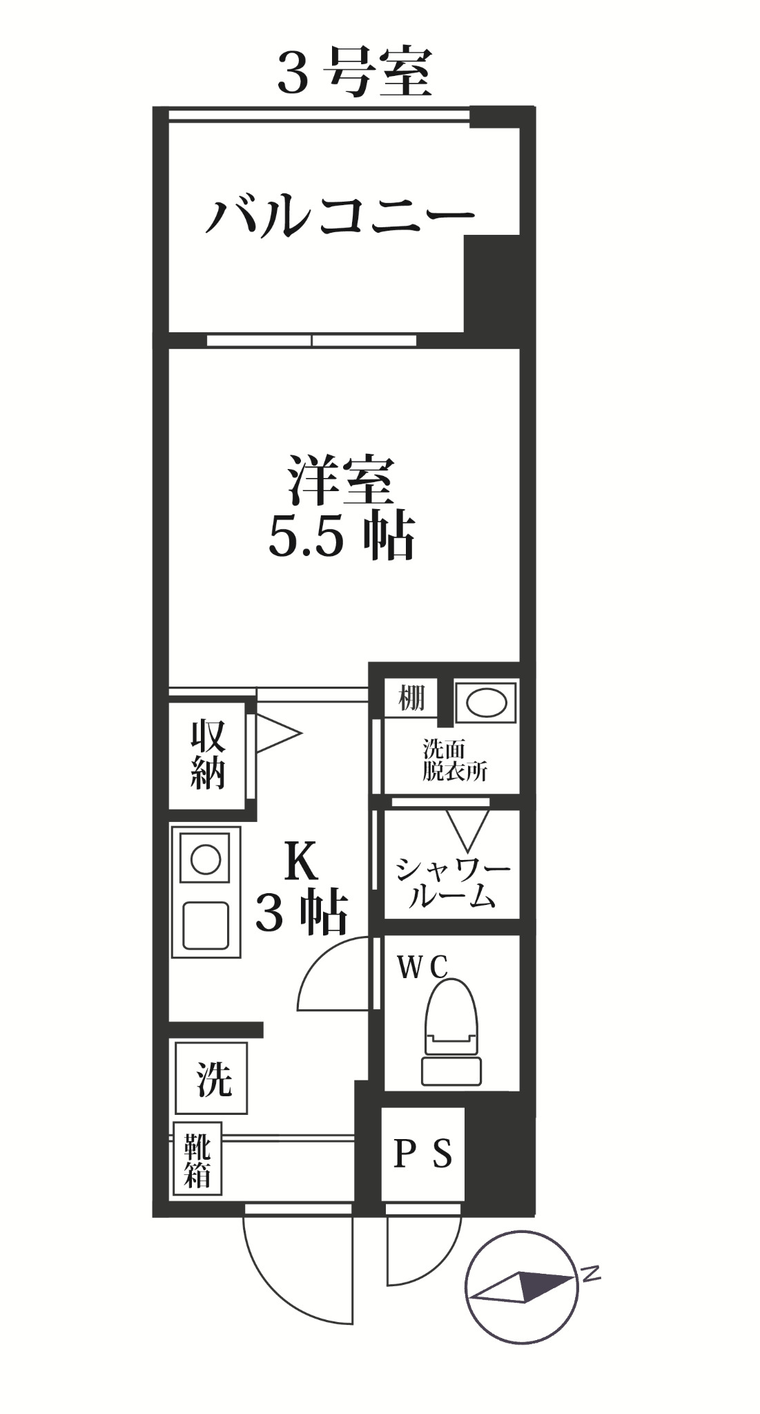 MODERN PALAZZO 西新SUR・303号室の間取り
