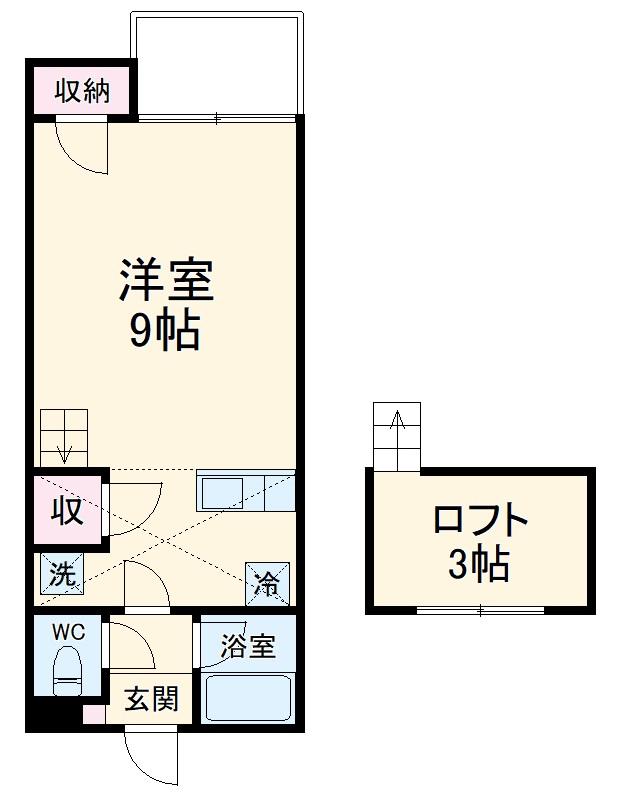 セザンヌ神野新田3・107号室の間取り