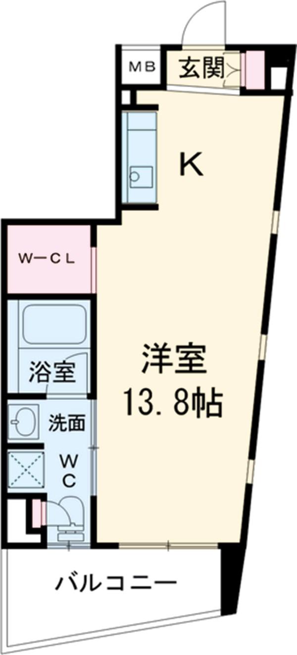 クロスレジデンス三宿・517号室の間取り