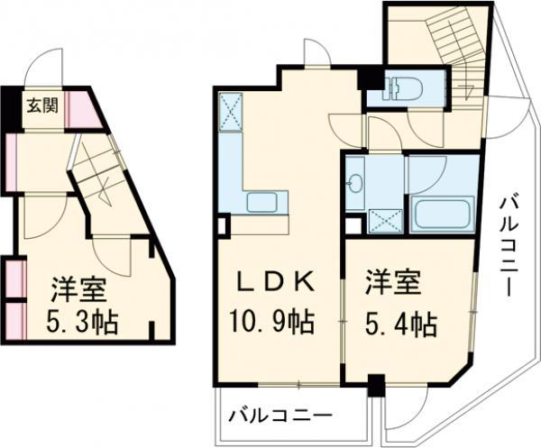 レジディア三軒茶屋Ⅱ・704号室の間取り