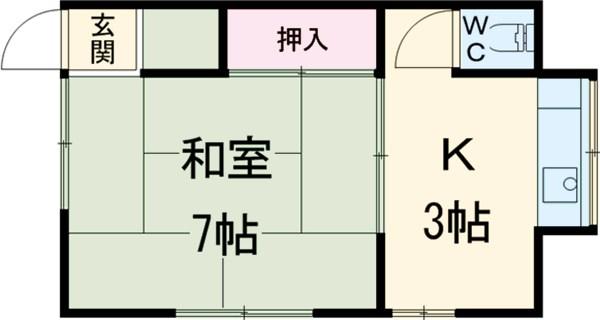 大野荘・206号室の間取り