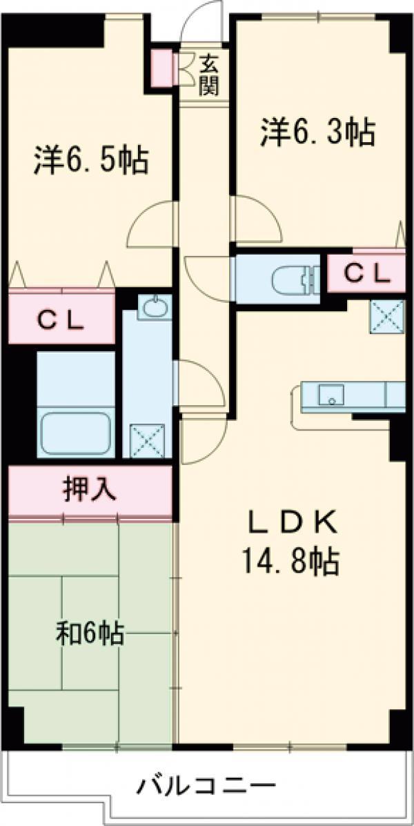 ルミエールヤガサキ・303号室の間取り