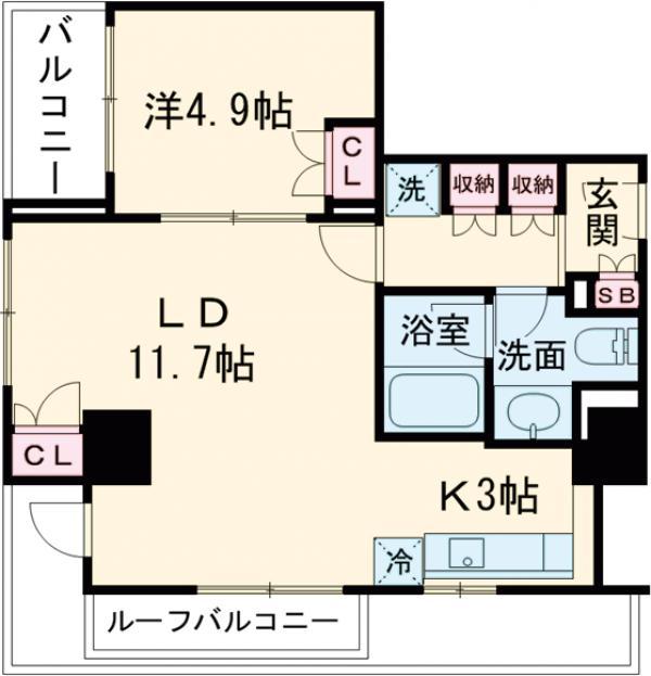 レガーロ西早稲田・1406号室の間取り