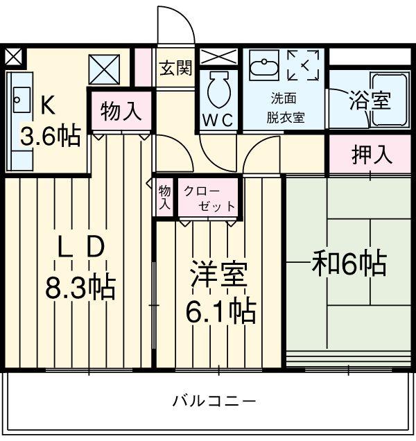 クールヴェール3番館 A・B・B-203号室の間取り