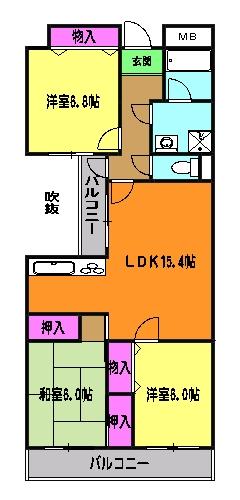 ラ・ポール七番館 206号室の間取り