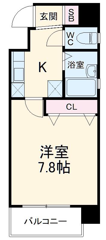 カムフォート登戸Ⅱ・5B号室の間取り
