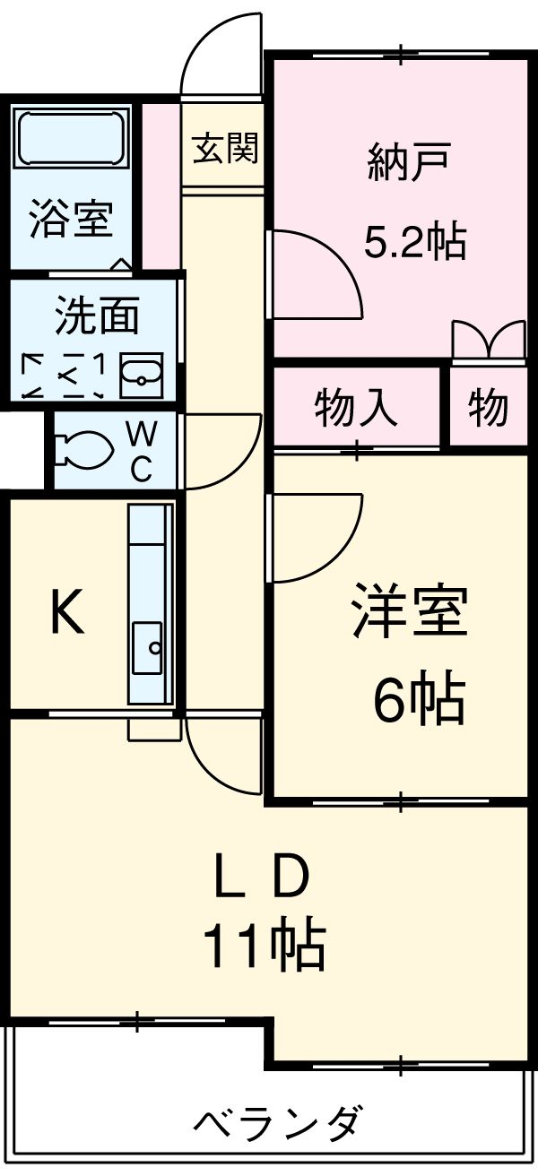 パレス細田アズマ・205号室の間取り