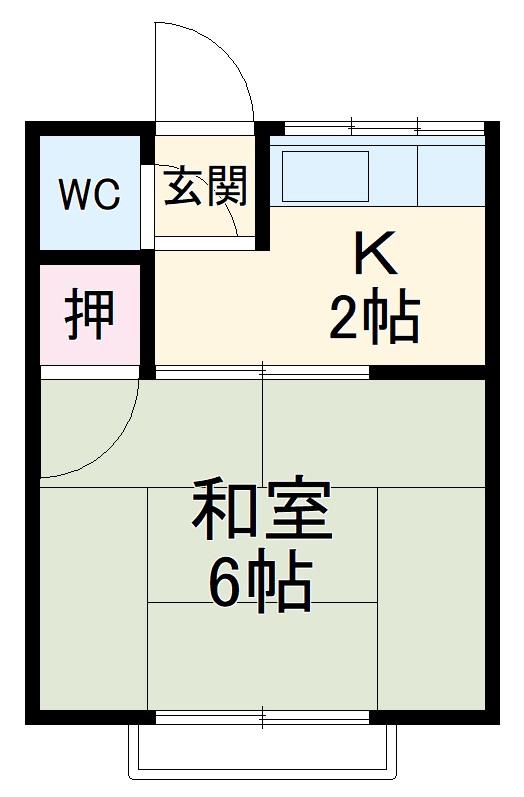 本山アパート・202号室の間取り