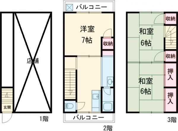 上本町メゾネット・2号室の間取り