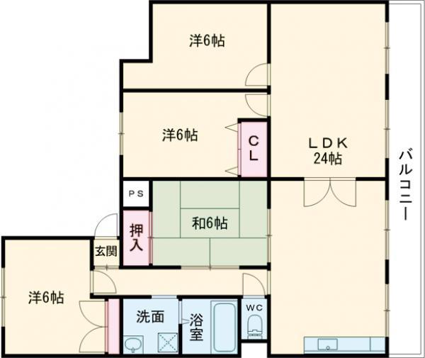 第1マンション寺直 707号室の間取り