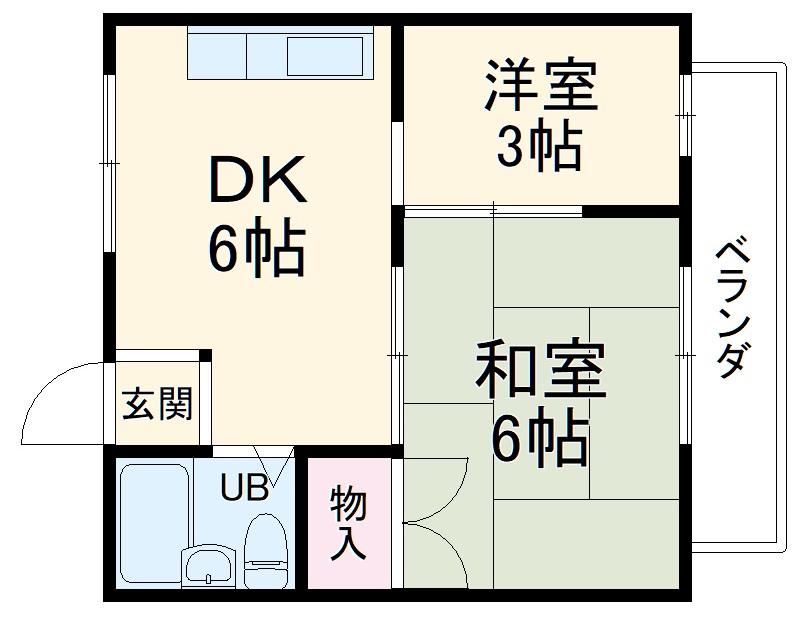 サンハイツ中桜塚・201号室の間取り
