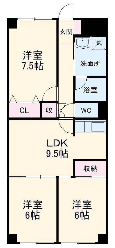 総業水戸第三姫子ハイム 710号室の間取り
