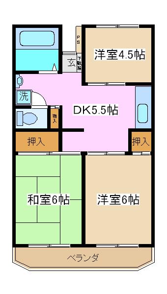 市川カトレアハイツ松塚・203号室の間取り