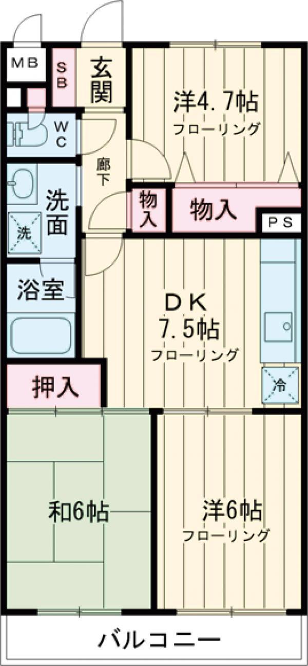 シャンボール武蔵野・203号室の間取り