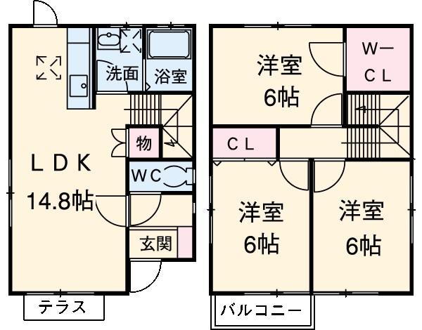 増田様戸建賃貸住宅・C号室の間取り