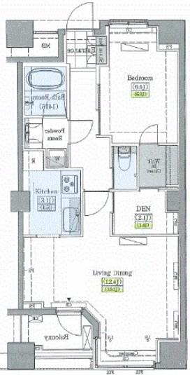レジディアタワー上池袋 タワー棟・922号室の間取り