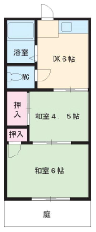 西島荘A・B・A12号室の間取り