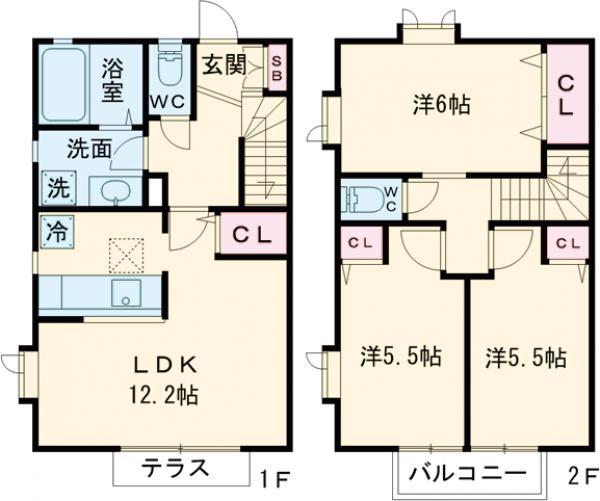 シャトレー武蔵野弐番館・101号室の間取り