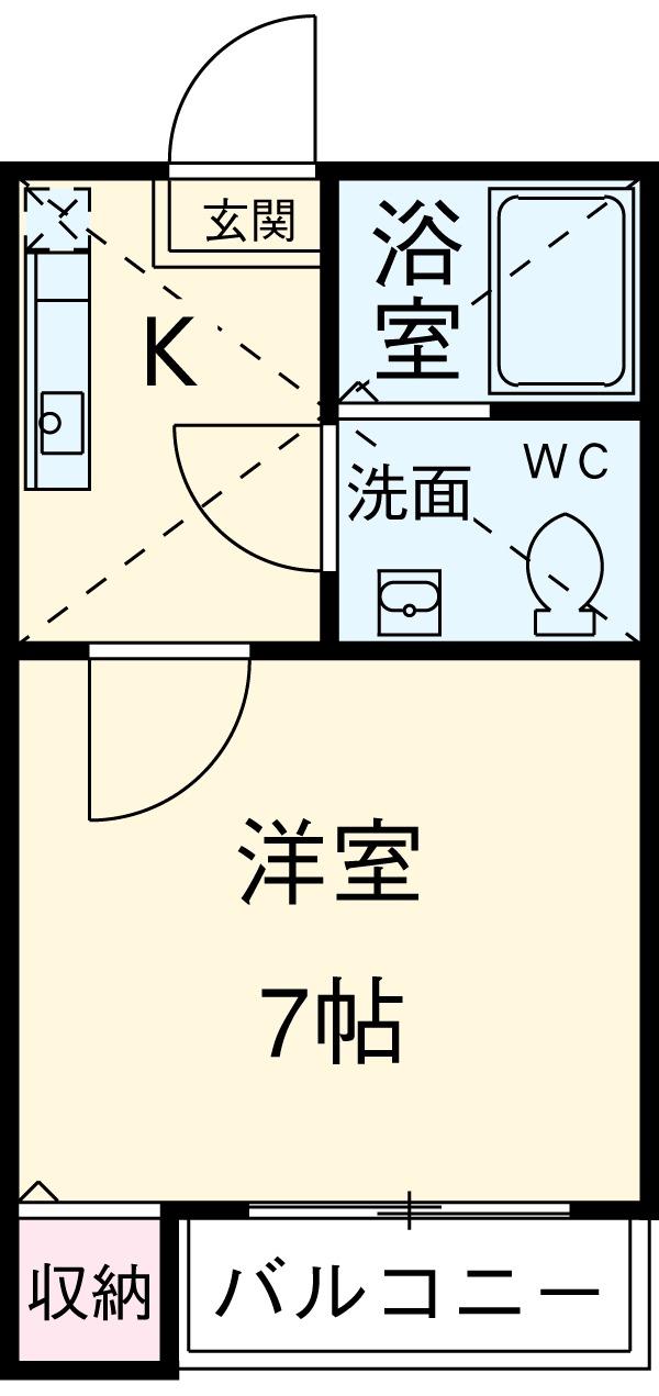 西新井ヴィラージュ・107号室の間取り