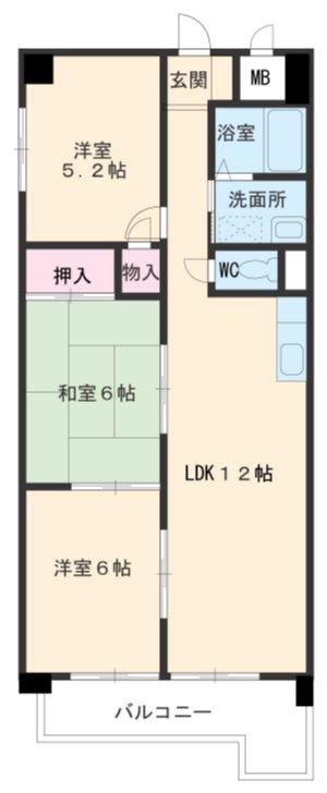 アパートメントハウス朴の樹・602号室の間取り