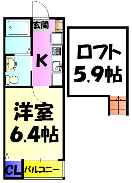 コンパートメントハウス検見川・203号室の間取り