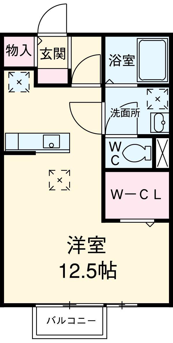 リビングタウン西枇杷島 B・102号室の間取り